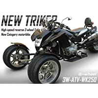 水冷エンジンタイプ G-wheel NEW TRIKER 逆3輪 ATV バギー 250cc オンロード ブラック (背もたれ、カバー付)