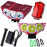 SolarStorm ® 2nd Generation Highest-Performing 3 x Cree XM-L2 Led X3 Bike Bicycle X2 Light Night SolarStorm Cycling Lamp with CREE NEWEST LED XM-L2 Energy Saving/More Efficiency/Rainproof Dustproof Waterproof 4 x 18650 Battery Pack with Rubber Jacket/UK