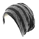 Distressed Stripe Jersey Knit Thin Lined Slouch Long Beanie Skull Hat Cap Black