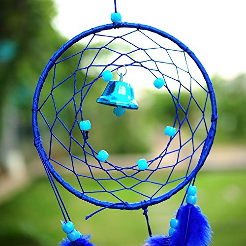 Soledi India Style Handmade Blue Dream Catcher Circular Net With_feathers Wall Hanging Decoration Decor Ornament Craft Gift Dream Catcher