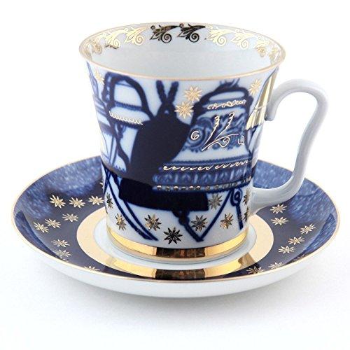 Bells Mug w/ Saucer. 12.1 Fl Oz. 22k Gold
