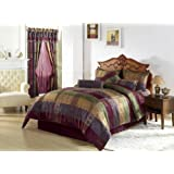 Chezmoi Collection Gitano Jacquard Patchwork 7-Piece Bedding Set, Queen, Multi Color