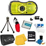 WG-4 16MP HD 1080p Waterproof Digital Camera Lime Yellow 32GB Kit Includes camera, 32GB SD Memory Card, Carry Case, Floating Wrist Strap, Battery, Card Reader, Mini Tripod, and More!