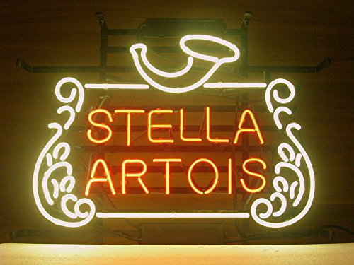 "New Stella Artois Belgian Lager Neon Light Sign Home Beer Bar Pub Recreation Room Game Room Windows Garage Wall Sign 17w""x 14""h"