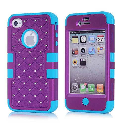 iPhone 4S Case, KAMII 3 Layers Verge Hybrid Soft Silicone Hard Plastic Triple Quakeproof Drop Resistance Protective Case Cover for Apple iPhone 4/4S (Purple Blue) (Iphone 4s Back Glass Marvel compare prices)