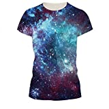 Juniors Blue Galaxy Universe T-shirt Short Sleeve Star Sky Couple Tees M , M=(US S)