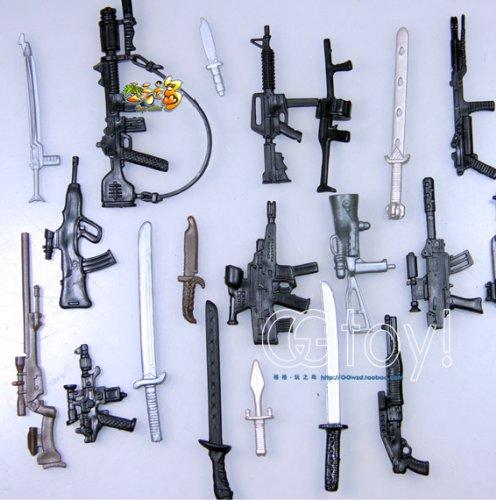 "Lot Of 40 Pcs 3.75"" Gi Joe Figure'S Accessories Gun Sword"
