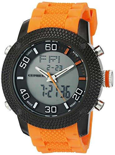 CEPHEUS CP903-620C - Reloj analógico y digital de cuarzo para hombre con correa de silicona, color naranja