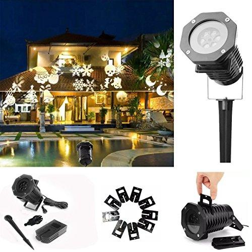 Spotlight iTrank proiettore di luce Paesaggio di autorotazione LED, esterno della lampada del giardino per la festa nuziale di Natale con 10pcs commutabile Film di progettazione-Monocromo