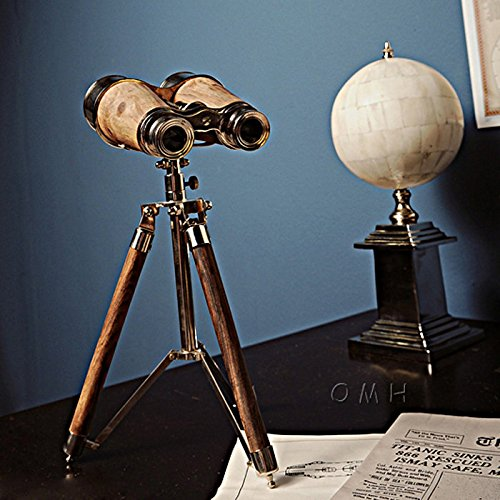 Old Modern Handicraft Brass Binocular On Stand