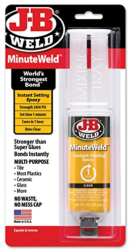 J-B Weld 50101 MinuteWeld Instant-Setting Epoxy Syringe - Dries Clear - 25ml