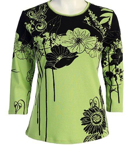 Jess & Jane - Canon Flower, Rhinestones, Scoop Neck, Lime Top