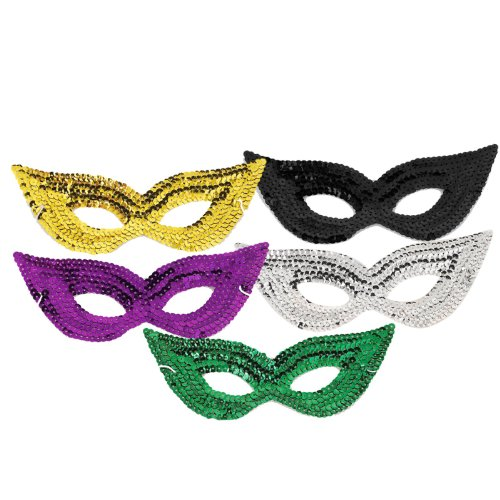 Silver Sequin Harlequin Eye Mask