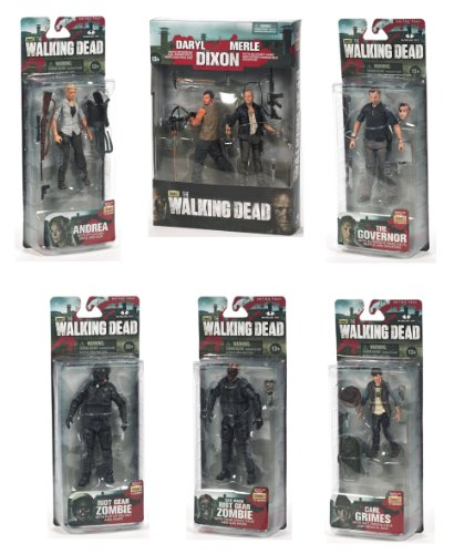 The Walking Dead TV 4 Action Figure Set Of 7 with Daryl and Merle Dixon