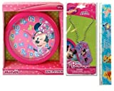 3 Item Gift Set Disney Minnie Mouse Wall Clock (10'), Disney Minnie Necklace Dog Tag and Ruler - Best Christmas...
