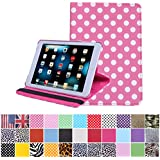 HDE iPad Mini Tablet Case 360 Rotating Flip Stand Folding Folio Smart Cover PU Leather for Apple Mini 2/3 Retina (Hot Pink Polka Dot)