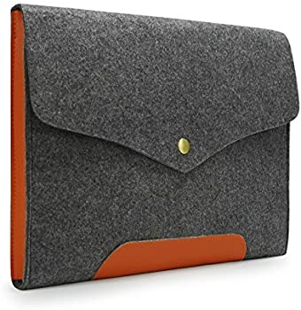 Sinoguo Gray Felt & Leather Case Sleeve Pouch