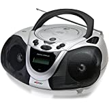 Axess PB2706 Portable Boombox MP3/CD Player with Text Display, AM/FM Stereo and USB/AUX Inputs - Black