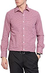 East West Men's Casual Shirt (Ew-Ts010_40, Red With White , 40)