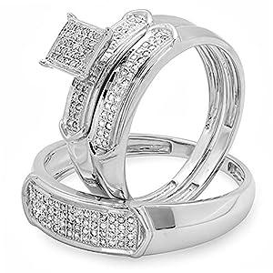 0.30 Carat (ctw) Sterling Silver Round White Diamond Men & Women's Engagement Ring Trio Set 1/3 CT from DazzlingRock