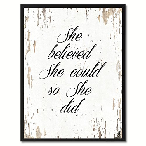 She Believed She Could So She Did Saying Canvas Print, Black Picture Frame Home Decor Wall Art Gifts (Wall Decor For Restaurant compare prices)