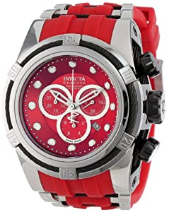 Invicta Men's 14402 Bolt Chronograph Red Dial Red Polyurethane Watch