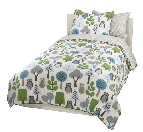 Discover Bargain DwellStudio Owls Twin Duvet Set, Sky