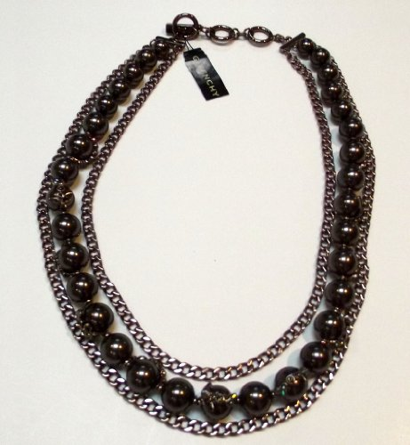 Givenchy Espresso Brown Multistrand Glass Bead Necklace