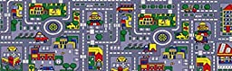 3X7 Runner Rug Play Road Driving Time Street Car Kids City Map Fun Time Gray