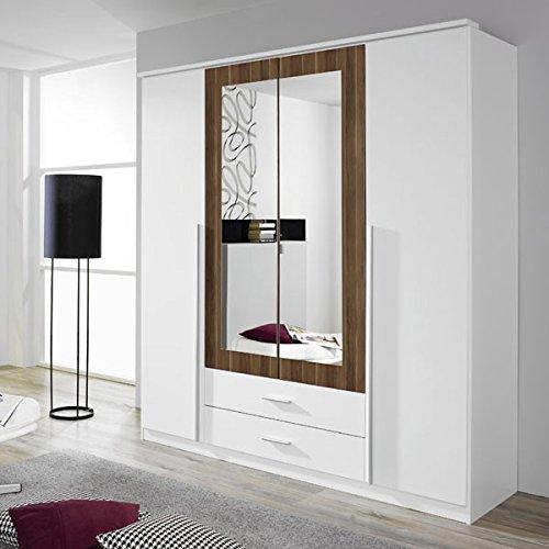 Kleiderschrank weiß / braun 4 Türen B 181 cm kernnuss Schrank Drehtürenschrank Wäscheschrank Spiegelschrank Kinderzimmer Jugendzimmer online kaufen