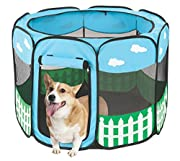 Pet Portable Foldable Play Pen Exercise Kennel Dogs Cats Indoor/outdoor tent for small medium large pets Animal Playpen with Pop up mesh cover great for travel