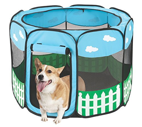 Pet Portable Foldable Play Pen Exercise Kennel Dogs Cats Indoor/outdoor tent for small medium large pets Animal Playpen with Pop up mesh cover great for travel LARGE