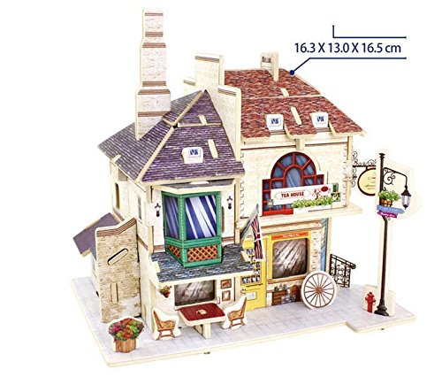 Totoer®Britain teahouse Style 3D Jigsaw Puzzle Woodcraft Kit Wooden Toy Puzzle Model - 1