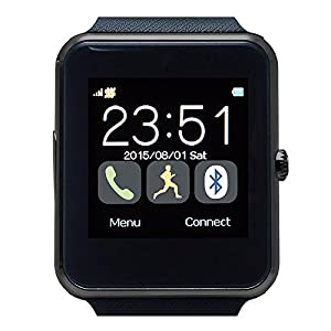 CREEV SW100 250 mAh Smartwatch with 128 + 32 MB and SIM Card Slot - Black