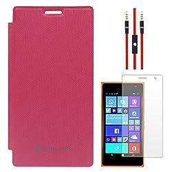 SumacLife Premium Flip Cover Case for Nokia Lumia 730 (Magenta) + AUX Cable + Matte Screen
