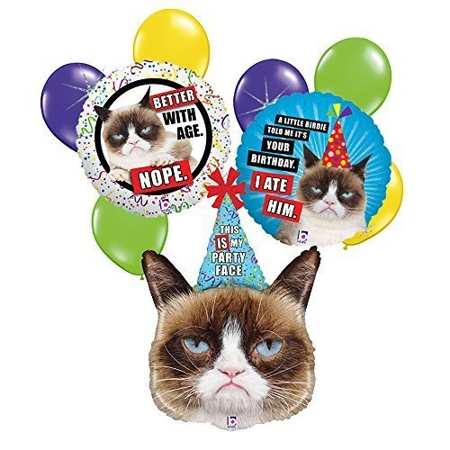 Grumpy Cat 9 pc Birthday Balloon Bouquet (Grumpy Cat Party Supplies compare prices)