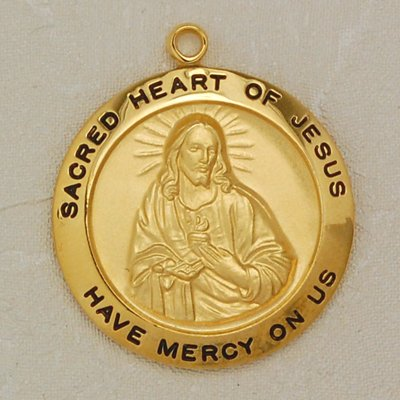 Gold Plated Over Sterling Silver Sacred Heart of Jesus Medal with 24