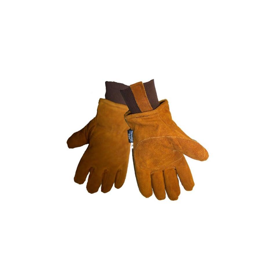 Global Glove 524 Premium Grade Russet Cow Split Freezer Glove with Knit Wrist Cuff, Work, Extra Large (Case of 144)