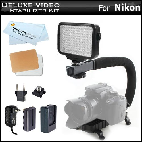 10-Piece Pro 120 Led Dimmable On-Camera Led Video Light Kit With Battery, Charger, Diffusers Case + Action Stabilizing Handle For Nikon 1 J4, Nikon 1 S2, Nikon 1 J2 Nikon 1 J1, Nikon Coolpix P600 P530 P520 L610 L820 L830 P7000 P7700 P7800 Digital Camera