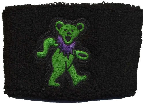 Licenses Products Grateful Dead Green Dancing Green Bear on Black Wrist Band