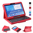 NEWSTYLE Removable Wireless Bluetooth Keyboard ABS Plastic Laptop Stylish Keys and Protective Case For Samsung Galaxy Tab 3 10.1 10.1 inch Tablet P5200 & Galaxy Tab 4 10.1 inch Tablet SM-T530 T531 T535 (Red)