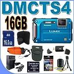 Panasonic Lumix TS4 12.1 TOUGH Waterproof Digital Camera with 4.6x Optical Zoom (Blue) BigVALUEInc Accessory Saver 16GB Bundle