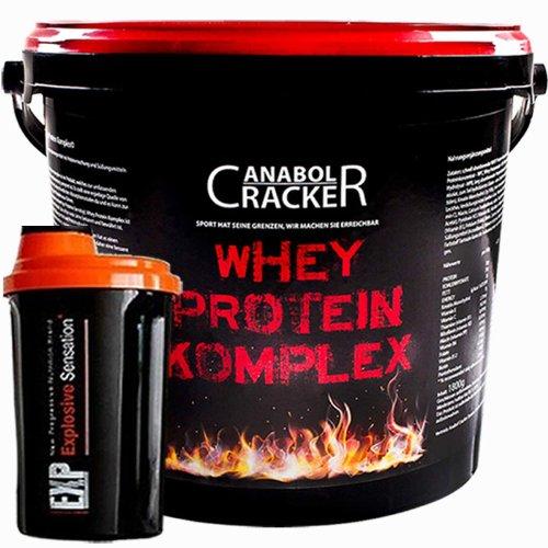 Whey Protein Creatin Komplex, Mandel-Biskuit oder Banane, 1800g Eimer + Eiweißshaker