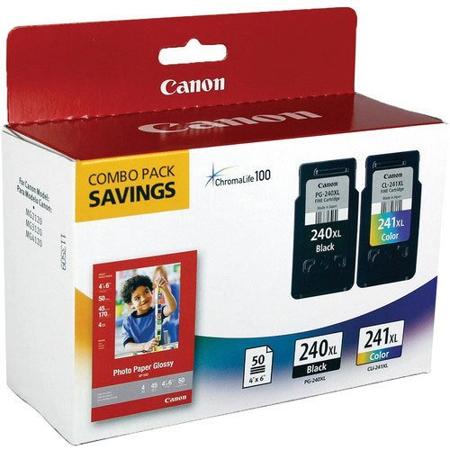 Canon Office Products PG-240XL/CL-241XL with Canon GP502 Glossy Photo Paper – Combo Pack Ink