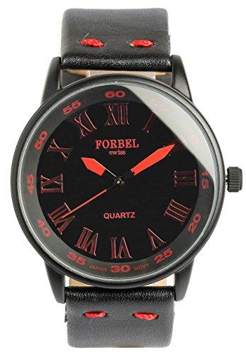 [FORBEL]フォーベル 腕時計 ウォッチ ミリタリー 本革 レザーバンド ファッション カジュアル レッド メンズ