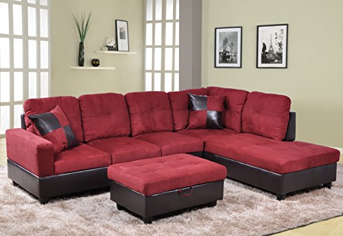 Beverly Furniture 3 Piece Microfiber and Faux Leather Upholstery Left-facing Sectional Sofa Set with Storage Ottoman, Red