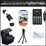 Accessories Bundle Kit For Fujifilm Finepix HS25EXR, S8200, S8300, S8400, S8500, S8600, S9200, S9400W, S9800, S9900W Includes 4 AA Rechargeable NIMH Batteries + AC/DC Rapid Charger + Case + More
