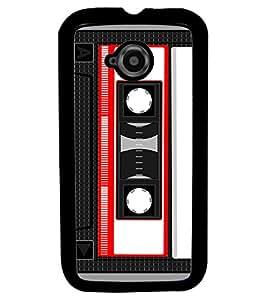 Fuson Premium Cassette Metal Printed with Hard Plastic Back Case Cover for Motorola Moto E (2nd Gen)
