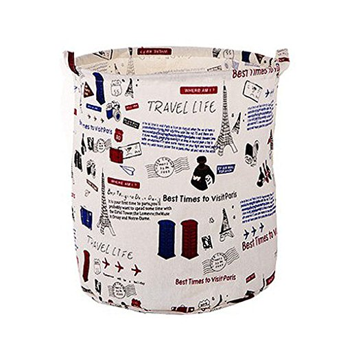 FakeFace ZAKKA Style Cotton Linen Large Folding Laundry Storage Basket Hampers for Dirty Clothes Kids Storage Bucket Boxes Bins Organizer Tote Bag for Baby Accessories Toys with Handles (Large Round Linen Basket compare prices)
