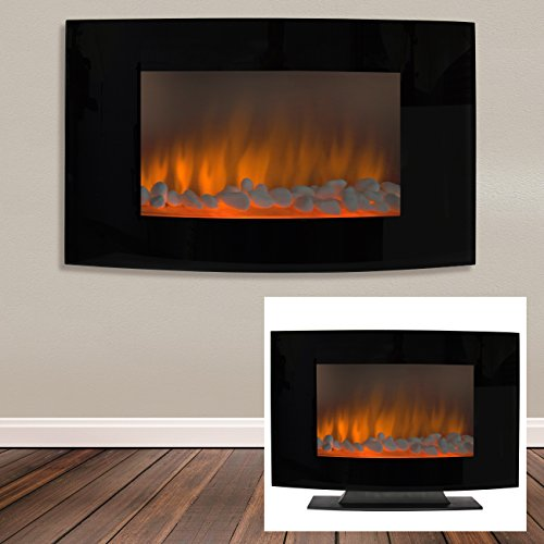 Superior Choice Products Large 1500W Heat Adjustable Electric Wall Mount & Free Standing Fireplace Heater with Goblet XL
